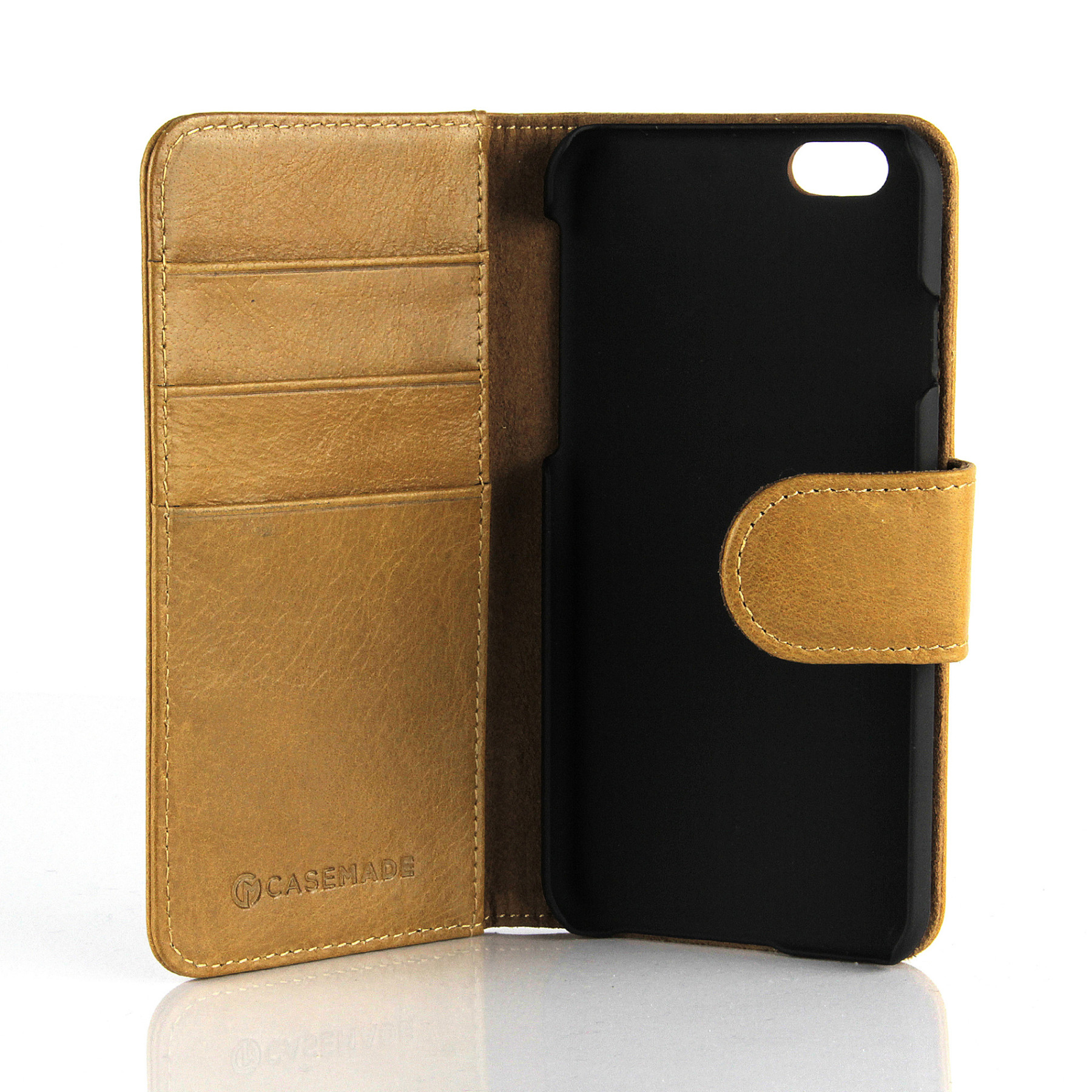 apple iphone 6s leather wallet case tan casemade usa. Black Bedroom Furniture Sets. Home Design Ideas